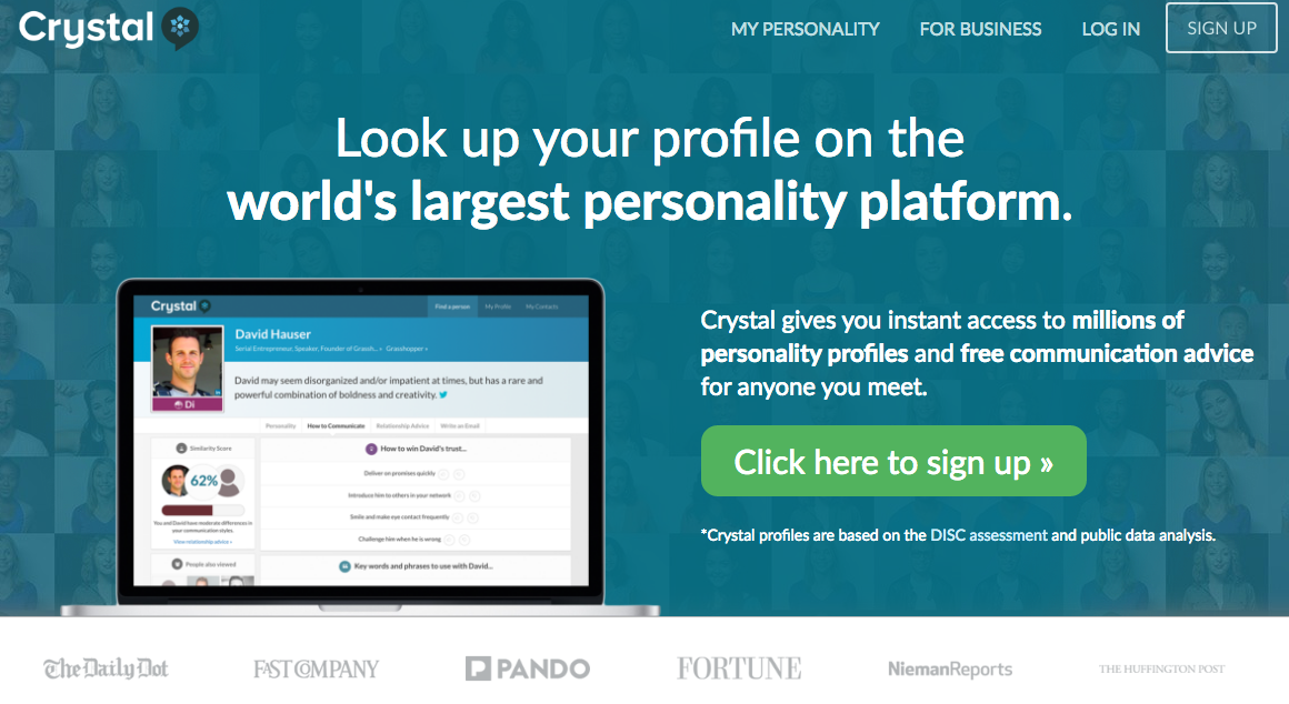 """""""Look up your profile on the world's largest personality platform."""""""