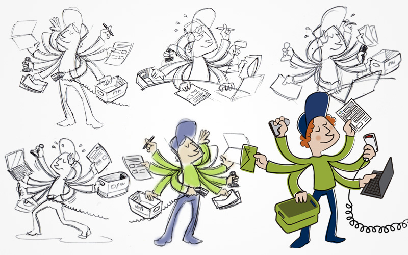 Development sketches from a winning design by Jorge for a communication Crowdstorm.