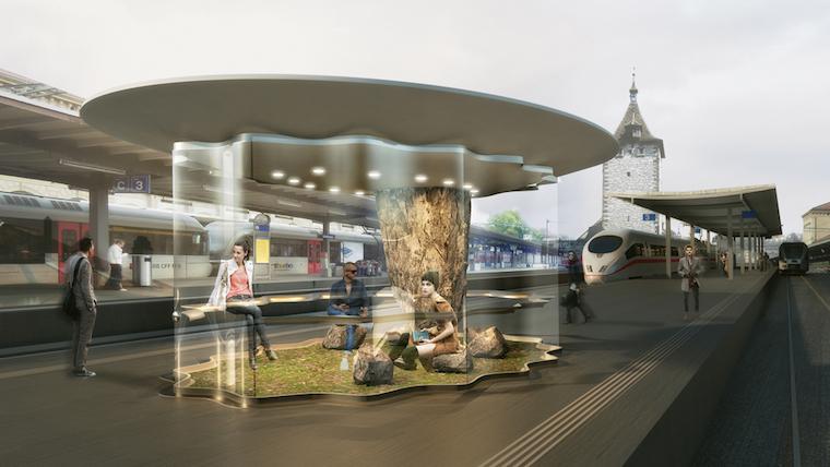 New train station architecture design: SBB ROCKS by zaarchitects